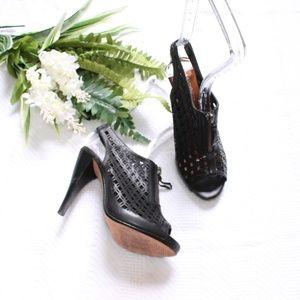Halogen Black Leather Perforated Peep Toe Heels 4